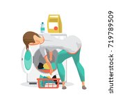 young woman housewife washes... | Shutterstock .eps vector #719789509