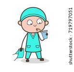 cartoon thirsty surgeon... | Shutterstock .eps vector #719797051