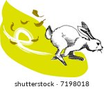 Stock vector illustration vector for a running rabbit 7198018