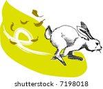 Stock vector illustration vector for a running rabbit 7198018