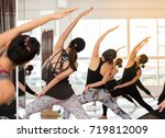 group asian women stretching... | Shutterstock . vector #719812009