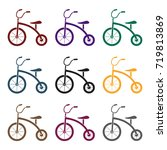 tricycle icon in black style...   Shutterstock .eps vector #719813869