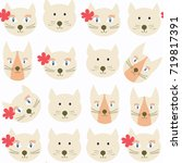 adorable cats seamless pattern. ... | Shutterstock .eps vector #719817391