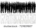sketch of a crowd of people ... | Shutterstock .eps vector #719839807