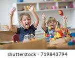 happy smiling caucasian kids... | Shutterstock . vector #719843794