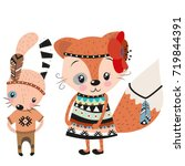cute tribal rabbit and fox on a ... | Shutterstock .eps vector #719844391