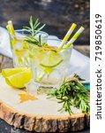 fresh homemade lemonade with... | Shutterstock . vector #719850619