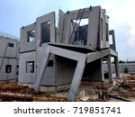 damaged home construction... | Shutterstock . vector #719851741