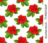 Stock vector red rose vector illustration seamless background 719854369