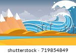 tsunami  flood disaster  vector ...   Shutterstock .eps vector #719854849