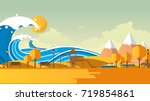 tsunami  flood disaster  vector ... | Shutterstock .eps vector #719854861