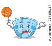playing basketball baby diaper... | Shutterstock .eps vector #719856187