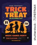 halloween party design template.... | Shutterstock .eps vector #719859664