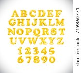 english alphabet and numerals... | Shutterstock .eps vector #719860771