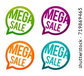 mega sale round buttons. circle ... | Shutterstock .eps vector #719869465