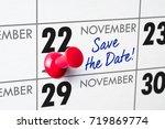 wall calendar with a red pin  ... | Shutterstock . vector #719869774