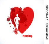 run. healthy lifestyle.heart  | Shutterstock .eps vector #719870089