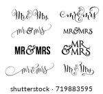 a collection of wedding mr and... | Shutterstock .eps vector #719883595