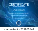 certificate with blue... | Shutterstock .eps vector #719885764