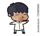cartoon curious boy   Shutterstock .eps vector #719885881