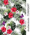 seamless hand drawn  exotic... | Shutterstock .eps vector #719892697