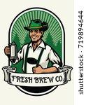 bavarian man beer brewing badge | Shutterstock .eps vector #719894644