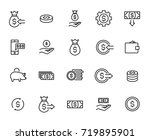 premium set of money line icons.... | Shutterstock .eps vector #719895901