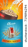oatmeal muesli ads. vector... | Shutterstock .eps vector #719896294
