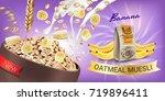 oatmeal muesli ads. vector... | Shutterstock .eps vector #719896411