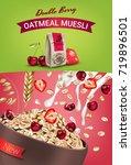 oatmeal muesli ads. vector... | Shutterstock .eps vector #719896501