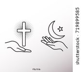 hands hold the christian and... | Shutterstock .eps vector #719899585