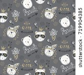 vector fashion bear seamless... | Shutterstock .eps vector #719904385