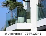balcony railing with glass and... | Shutterstock . vector #719912341