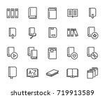 premium set of books line icons....