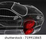 car vehicle 3d blueprint mesh... | Shutterstock . vector #719913865