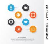 multimedia icons set.... | Shutterstock .eps vector #719918455