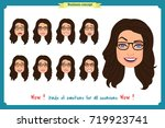 set of woman character... | Shutterstock .eps vector #719923741