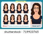 set of woman expression... | Shutterstock .eps vector #719923765