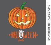 color angry smiling pumpkin... | Shutterstock .eps vector #719927347