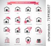 home insurance icons set    Shutterstock .eps vector #719938357