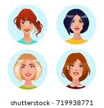 set of avatars. beautiful girls ... | Shutterstock .eps vector #719938771