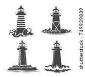 lighthouse logo design set.... | Shutterstock .eps vector #719939839