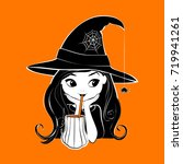 halloween witch vector...   Shutterstock .eps vector #719941261