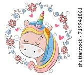 cute cartoon unicorn with...   Shutterstock .eps vector #719941861