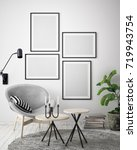 mock up poster frame in hipster ... | Shutterstock . vector #719943754