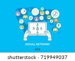 social network concept. flat... | Shutterstock . vector #719949037