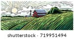 rural landscape with a farm in... | Shutterstock .eps vector #719951494