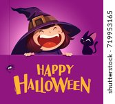 happy halloween. little witch... | Shutterstock .eps vector #719953165