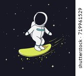 surfer astronaut flying on
