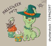 cute black kitten and dog... | Shutterstock .eps vector #719962597